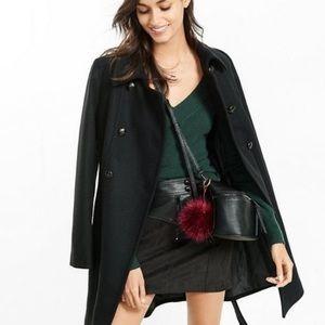 Express Black Wool Blend Belted Coat Size Large